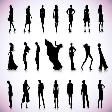high fashion: Set of black silhouettes of high fashion clothed women