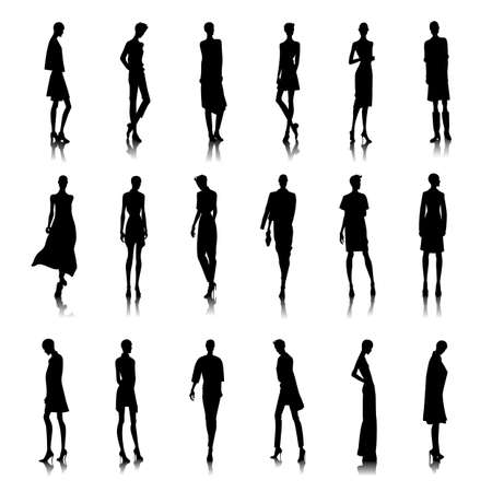 girl with bag: Set of bold style female silhouettes Illustration