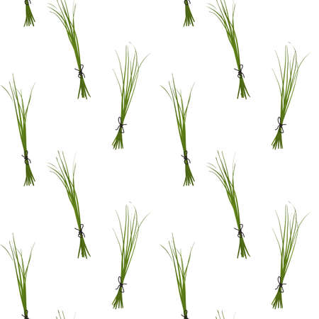 chives: Chives seamless pattern with sample in swatch panel (AI) Illustration