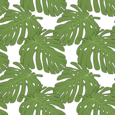 tropicana: Monstera seamless pattern with sample in swatch panel (AI) Illustration