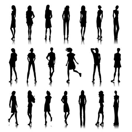 model posing: Set of female silhouettes in modern clothes
