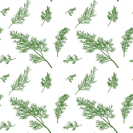 potherb: Dill seamless pattern with sample in swatch panel (AI)