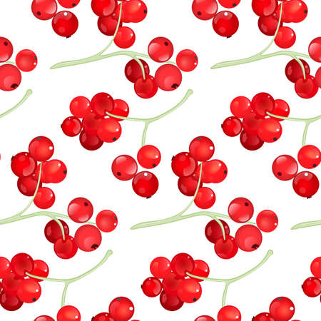 red currant: Red currant seamless pattern with sample in swatch panel (AI)