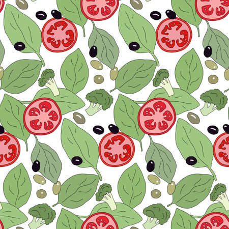 potherb: Vegetable seamless pattern with sample in swatch panel (AI)