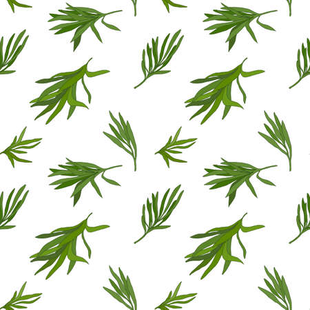 potherb: Tarragon seamless pattern with sample in swatch panel (AI) Illustration