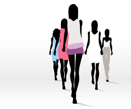 Group of fashion women walking on the runway