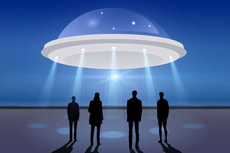 ufology: Group of men looking at UFO in the dark night sky Illustration