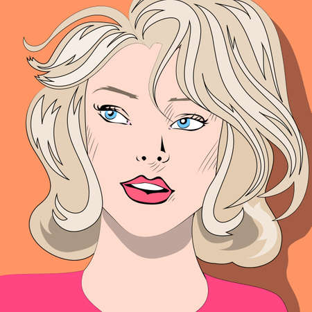 blue eyes: Pop art portrait of blonde woman with blue eyes