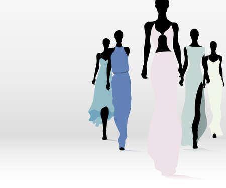 Group of fashion women walking on the runway