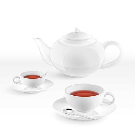 wares: Teapot and two cups of tea with spoons