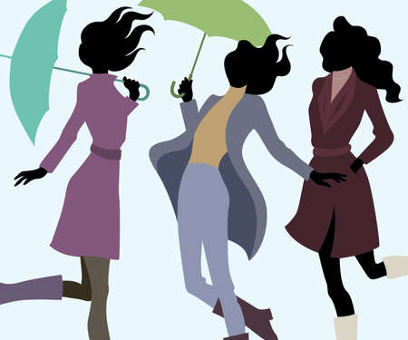 women: Group of women in autumn with umbrellas Illustration