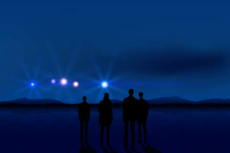 mystery man: Group of men seeing UFO in the dark sky Illustration