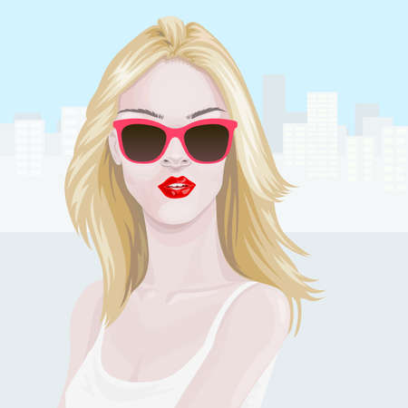 stylish woman: Vector illustration of blonde woman in sunglasses on the city landscape