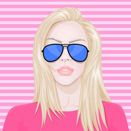 pretty blonde girl: Blonde fashion woman in sunglasses on pink background