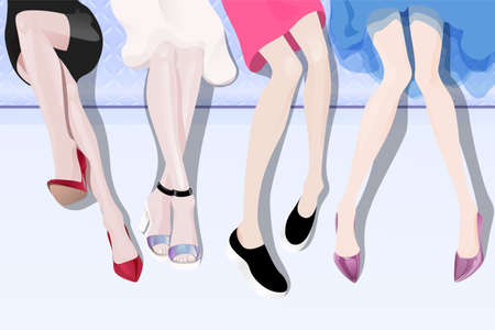 legs woman: Women sitting on the sofa with long legs in fashionable shoes Illustration