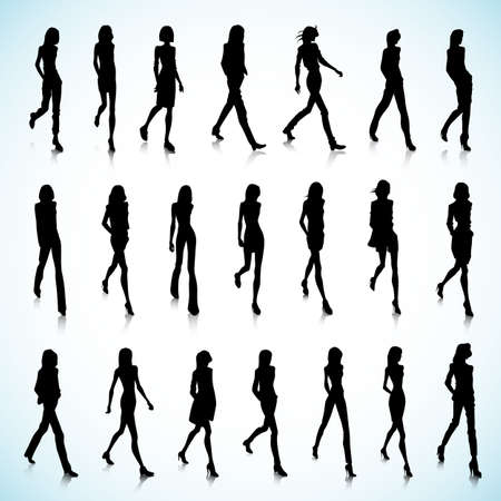 silhouette of women: Set of walking female silhouettes in fashion clothes Illustration