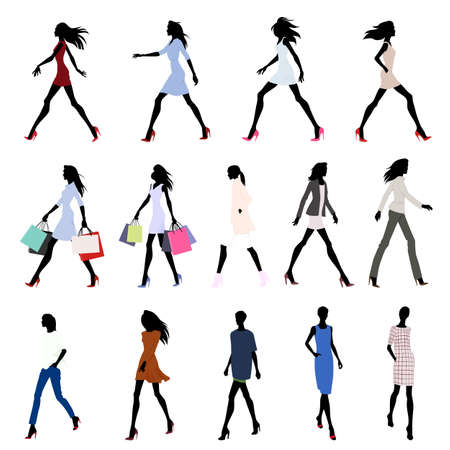fashion clothes: Set of walking female silhouettes in fashion clothes with bags