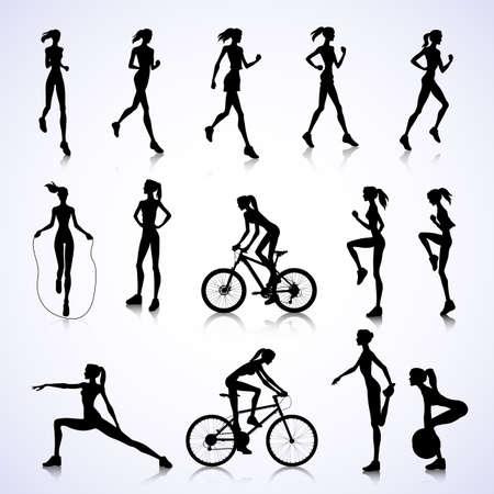 silueta humana: Conjunto de siluetas femeninas correr, saltar y montar en bicicleta