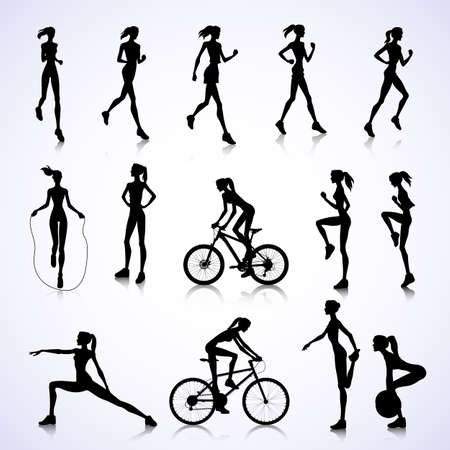 Set of female silhouettes running, jumping and cycling