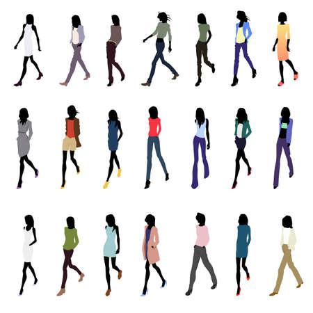persona caminando: Conjunto de caminar siluetas femeninas en ropa de moda