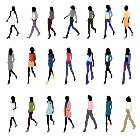 Set of walking female silhouettes in fashion clothes Illustration