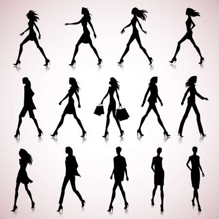 fashionable female: Set of walking female silhouettes in fashion clothes Illustration