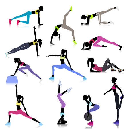 stretching: Set of female silhouettes stretching at gym Illustration