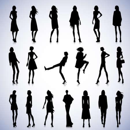 服でファッショナブルな女性のシルエットのセット  イラスト・ベクター素材