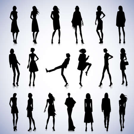 fashionable: Set of fashionable female silhouettes in clothes Illustration