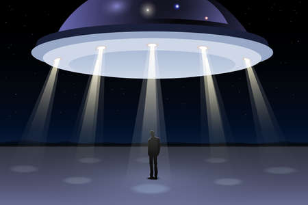 ufology: People looking at UFO in the sky