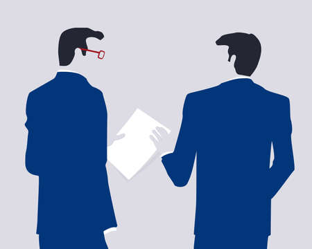 businessmen: Two businessmen holding paper sheets and talking about work