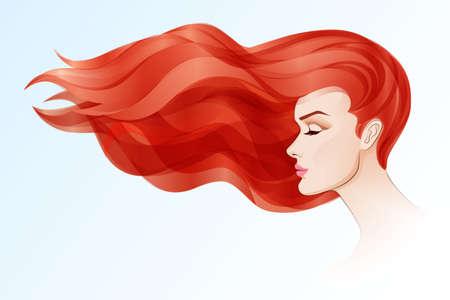 빨간색 긴 머리를 가진 아름 다운 여자의 초상화 일러스트