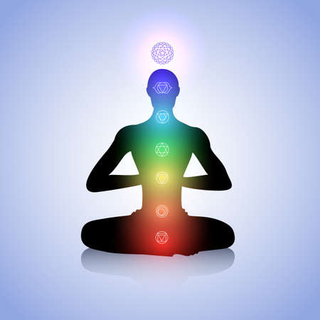 chakra: Male silhouette in yoga pose with abstract chakra symbols