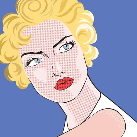 trendy girl: Beautiful blond woman with red lips in pop art style