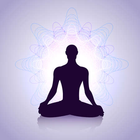 throat chakra: Male silhouette in yoga pose with abstract energy symbol