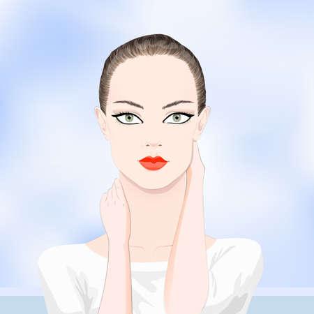 ojos verdes: Retrato de la mujer brunete hermosa con los ojos verdes