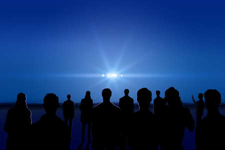 invasion: Group of people looking at lights in the night sky