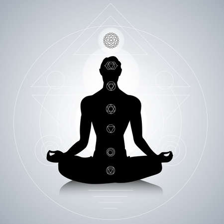 chakra symbols: Male silhouette in yoga pose with abstract chakra symbols