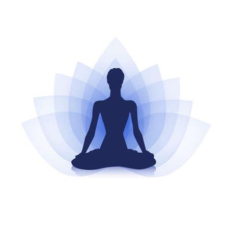 spirits: Female silhouette on the purple lotus background Illustration