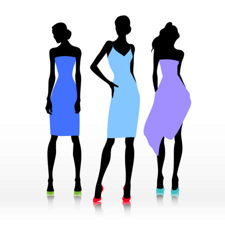 lady shopping: Group of female models dresses in fashion clothes