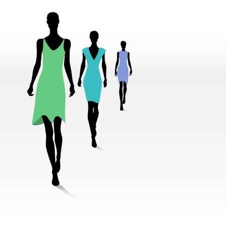 Grupo de siluetas femeninas de moda en la pasarela