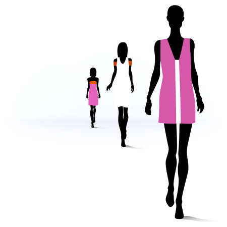 Set of female fashion silhouettes on the runway Illustration