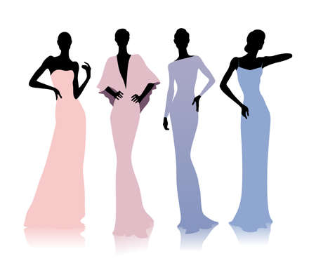 pose: Group of female silhouettes in fashion dresses