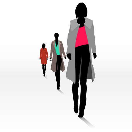 mujeres elegantes: Grupo de siluetas femeninas de moda en la pasarela Vectores
