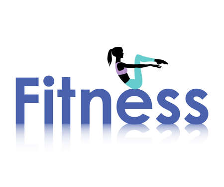 action girl: Logo of fitness with female silhouette