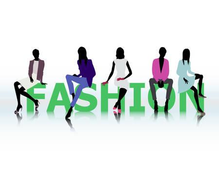 fashion show: fashion with female silhouette Illustration