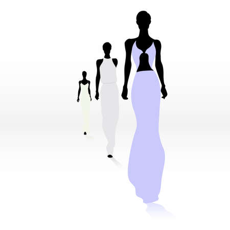 pose: Group of female fashion silhouettes on the runway