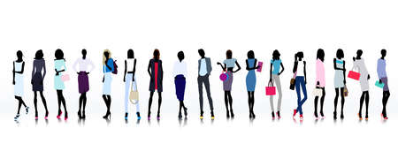 mode: Reihe von farbigen Silhouetten der Mode gekleidet Frauen