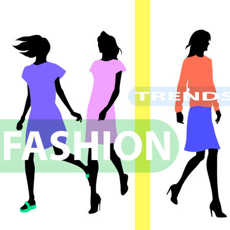 high fashion: Group of colored silhouettes of high fashion clothed women