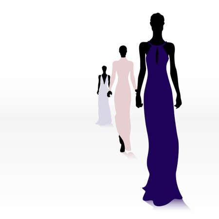 Gruppe der weiblichen Mode-Silhouetten auf dem Laufsteg Standard-Bild - 56411100